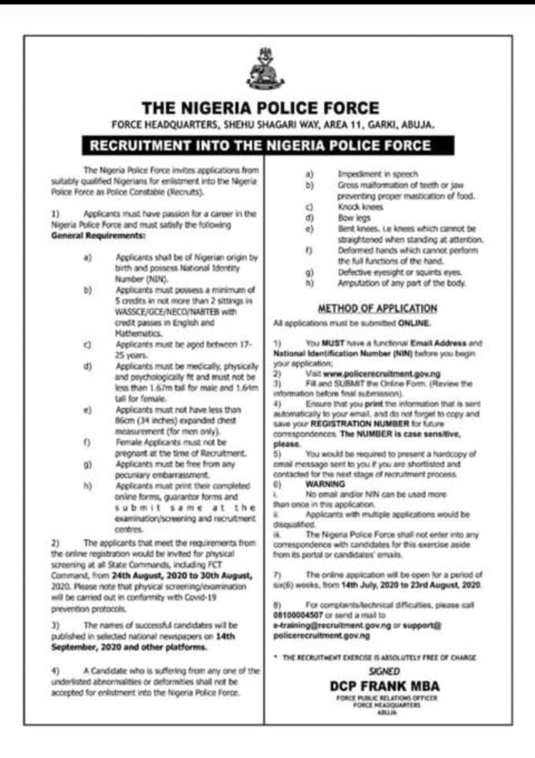 Nigeria Police Commences Recruitment Exercise