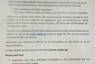 Online Application for RIVERS 5k jobs starts today